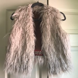 Free people cropped furry vest